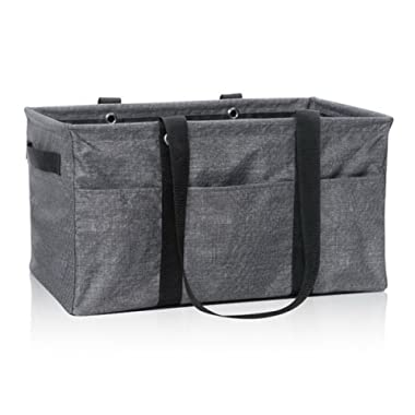 Thirty-One Deluxe Utility Tote in Charcoal Crosshatch - No Monogram - 4441
