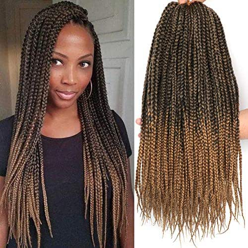 7 Packs 18 Inches Medium Box Braids Crochet Braids Hair 20 Strands/pack Synthetic Braiding Hair Extensions(18 Inch, 1B/27)