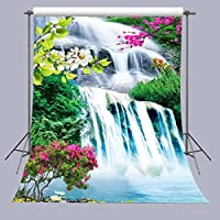 FUERMOR 5X7FT Flowers and Waterfall Photography Backdrop Studio Props Room Mural M345