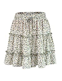 Women Casual Skirt A Line Elastic Waist Summer Beach Floral Ruffle Pleated
