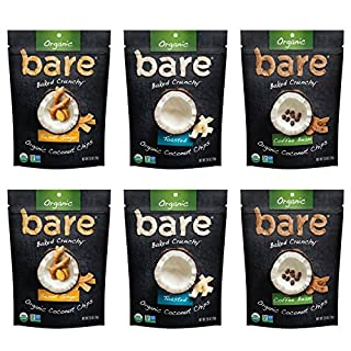 Bare Organic Coconut Chips, Multi Serve Variety Pack, Gluten Free + Baked, 2.8 Oz (6 Count)