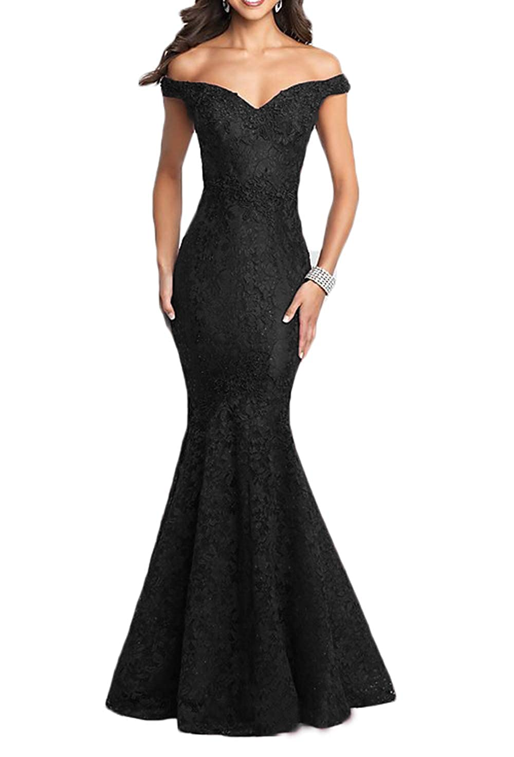 Black Ri Yun Elegant Off The Shoulder Lace Prom Dresses Long Mermaid Beaded Formal Evening Ball Gowns 2018