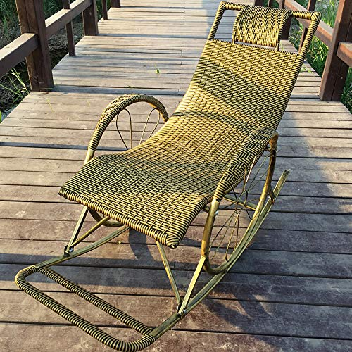 Freizeitstuhl,DASENLIN stuhl, home fashion PE rattan gewebt recliner, solid metallrahmen, erwachsenen casual nap stuhl, atmungsaktiv umweltfreundliche ältere stuhl, SchwarzGold (single stuhl)