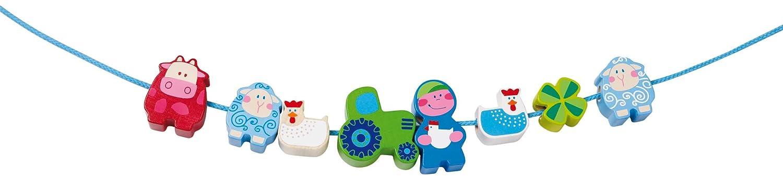 Haba 3648 Muh and Mah - Juego infantil para enhebrar, diseño de animales