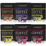 Nespresso Compatible Gourmet Coffee Capsules - 120 Pod Variety Pack - for Original Line Nespresso Machine - Bestpresso Brand Certified Genuine Espresso