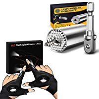 Upgraded LED Flashlight Gloves, Universal Socket Grip Tool Sets with Power Drill Adapter, Cool Gadget Gifts for Men,