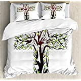Baptism Duvet Cover Set by Ambesonne, Cross Tree Shape Blooms Religious Spirituality Orthodoxy Decor