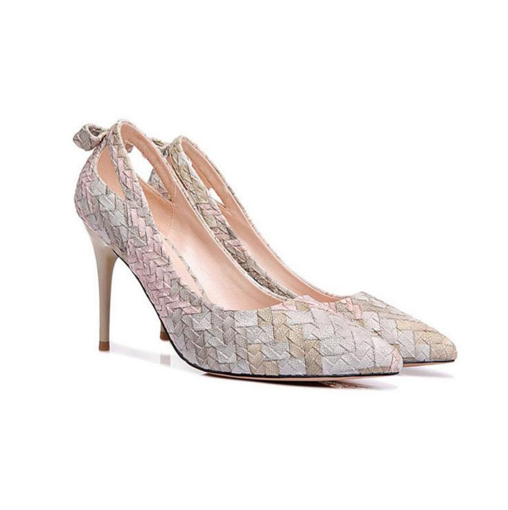CYMIU Damen High Pumps High Damen Heels Mode Schuhe Stiletto Party Prom Bowknot Flacher Mund Einzelne Schuhe Frühling Und Herbst Nähte MultiFarbe Spitz 9a1411