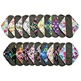 6 Pieces 8 Inch Charcoal Bamboo Mama Cloth/ Menstrual Pads/ Reusable Sanitary Pads / Panty Liners - You Choose 6 From 25 Designs and Send the Message to Me