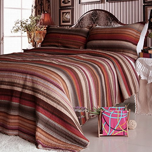 Blancho Bedding [Enthusiastic Saturn] 3-Pieces Striped Printed-Quilted Cotton Quilt Set (Full/Queen Size)