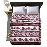 "LivebyCare Luxury Collection Ultra Soft Flannel Bed Blanket Plush Fleece All-Season Throw/Bed Blanket Couch Blanket Deer 71""X79"""