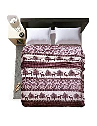 "LivebyCare Luxury Collection Ultra Soft Flannel Bed Blanket Plush Fleece All-Season Throw/Bed Blanket Couch Blanket Deer 79""X91"""