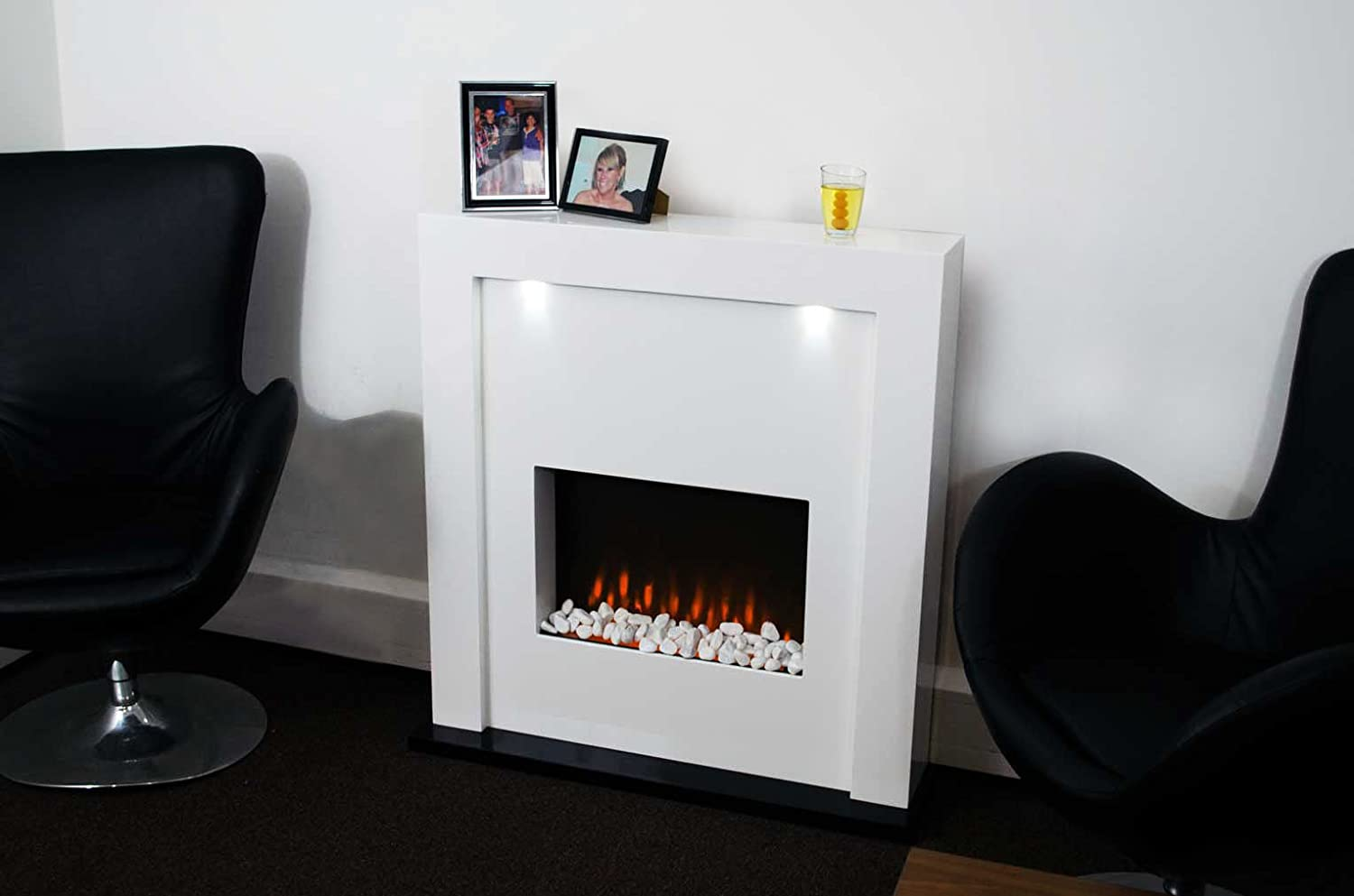 Electric Fireplace Fire Surround Living Room Floor Standing LED Lights MDF Inset: Amazon.co.uk: Kitchen & Home