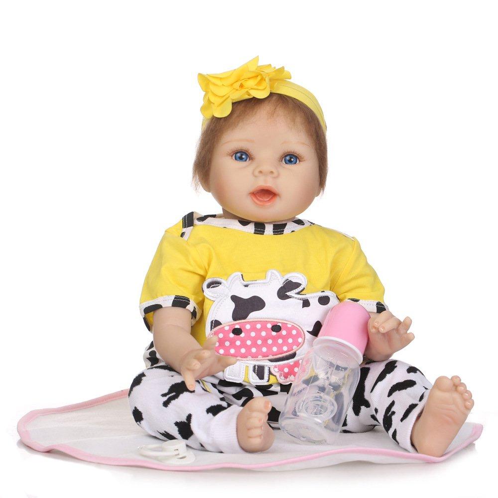 JHGFRT Bambola Rinata Completa Simulazione di Plastica Simpatica Educativa per Bambini Precoce Educazione Giocattolo Regalo Creativo 55 Cm