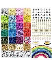 SOLOPLAY Vlakke parels, handgemaakt, 5000 stuks, ronde platte parels, van polymeerklei, 6 mm, letters, alfabet, parels, sieraden, oorbellen, armbanden, 24 kleuren