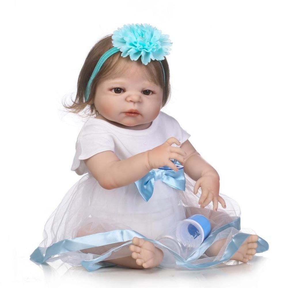 JHGFRT Poupée Reborn Bébé Jouet De Bain Complète Corps Avec Vêtements En Silicone Yeux Ouverts 57 cm