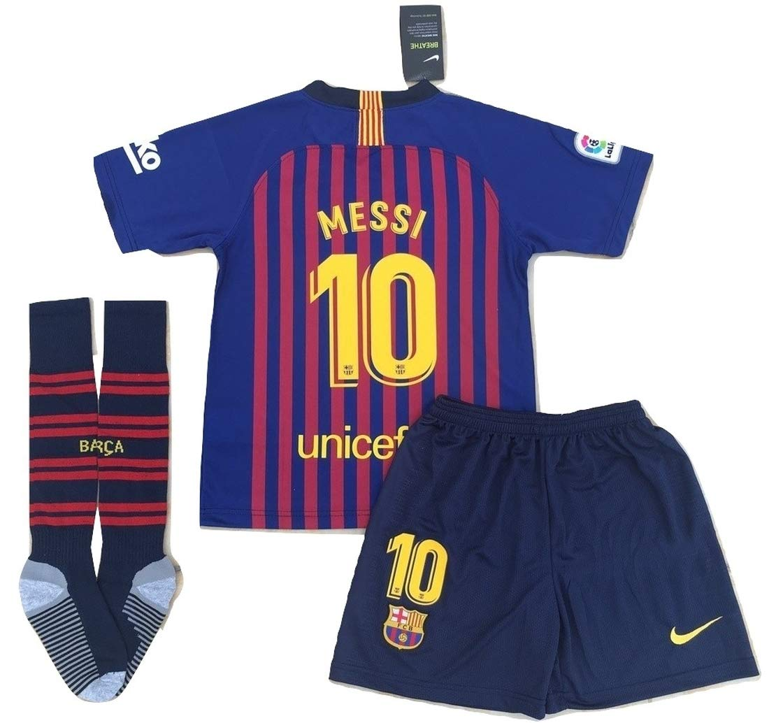 4d693f1debe StarSoccer Messi  10 New 2018-2019 FC Barcelona Home Jersey Shorts and  Socks for Kids Youth (11-13 Years Old) Red