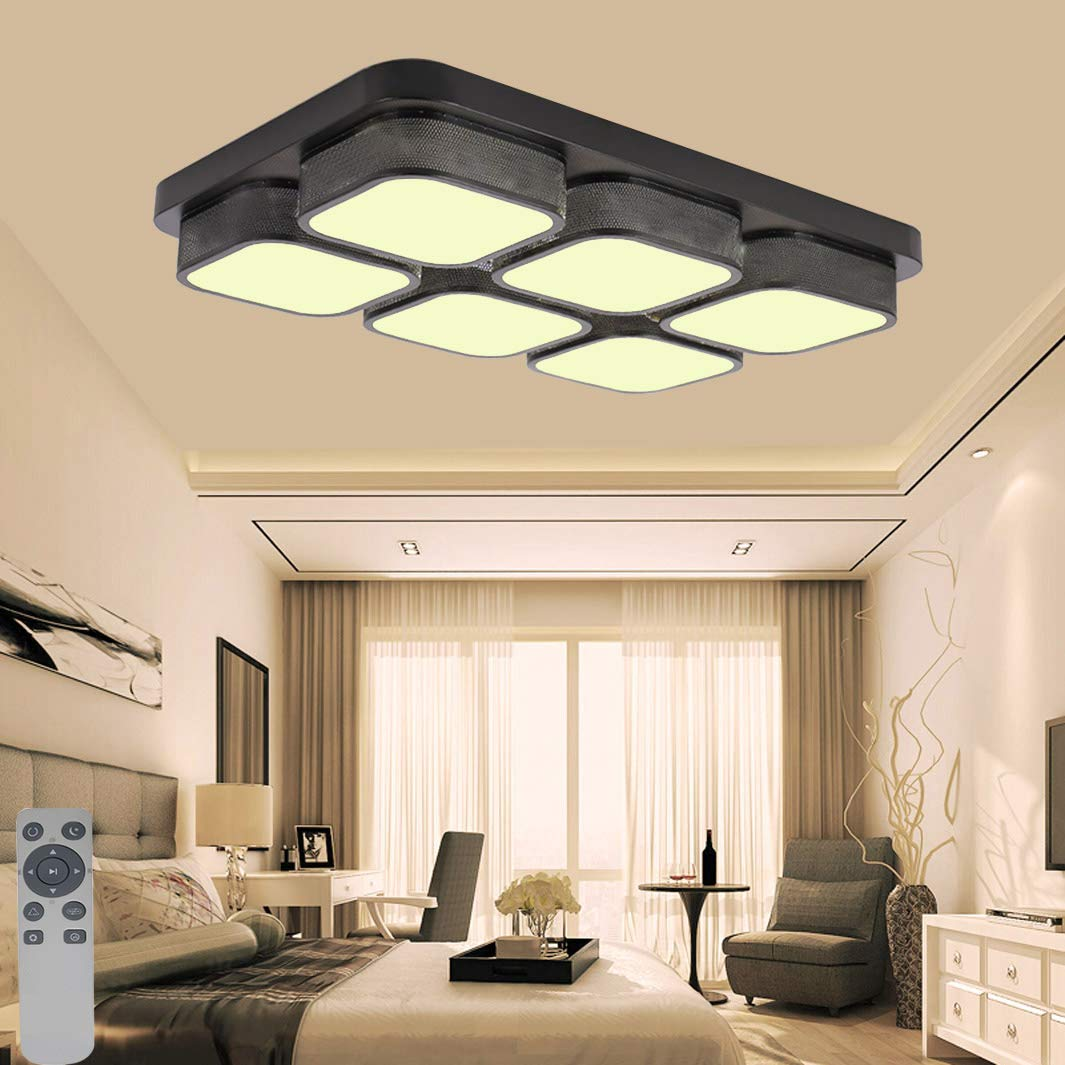 MYHOO 78W Dimmbar LED Deckenleuchte Modern Deckenlampe Lampe Schlafzimmer Küche Flur Wohnzimmer Lampe Deckenlampe (Dimmbar 3000-6500K) (Schwarz-78W) e7eecf