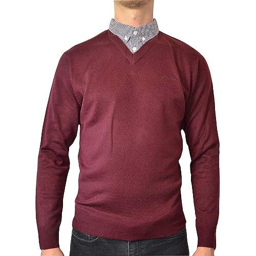 f13f4053cd6c Pierre Cardin Mens New Season V-Neck Knitted Jumper with Mock Shirt Collar  Insert