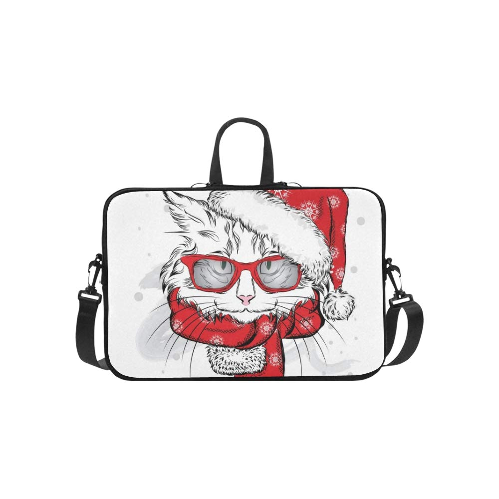Funny Cat Christmas Hat Bufanda Vector Patrón Maletín Work Laptop Bag Messenger Hombro Work Maletín Bag Crossbody Bolso para Viajes de Negocios 24f941