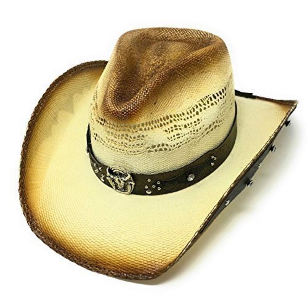 Naturbraun/creme Cowboy Strohhut - Bullhide Sun ist glänzend mit Leder und unter Krempe Trimm - Braun, Large - 59cm