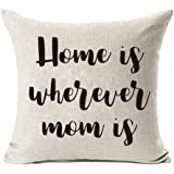 MFGNEH Home is Wherever Mom is Cotton Linen Throw Pillow Covers, Pillow Case Cushion Cover 18 x 18,Mom Birthday Gifts,Mom Gif