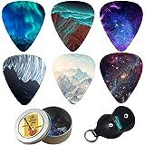 Guitar Picks - Cheliz 12 Medium Gauge Celluloid Guitar Picks In a Box W/Picks Holder. Unique Guitar Gift For Bass, Electric &