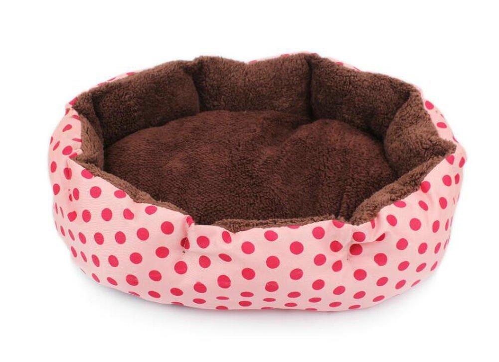 Perfect Pet Bed Supplie Pet Cat Puppy Dots Pattern Nest Mat Bed Pet Kennel House (Pink)