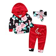 Baby Girls Hooded Clothing Pocket Printed T-Shirt Top With Floral Long Pants Clothes (Tag:70/6-12M, Big Red)