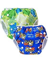 Teamoy Reusable Swim diapers, 2 Pcs Pack Washable Swimming diapers for Baby Boys & Girls, Ideal for Swimming Lessons/Holiday
