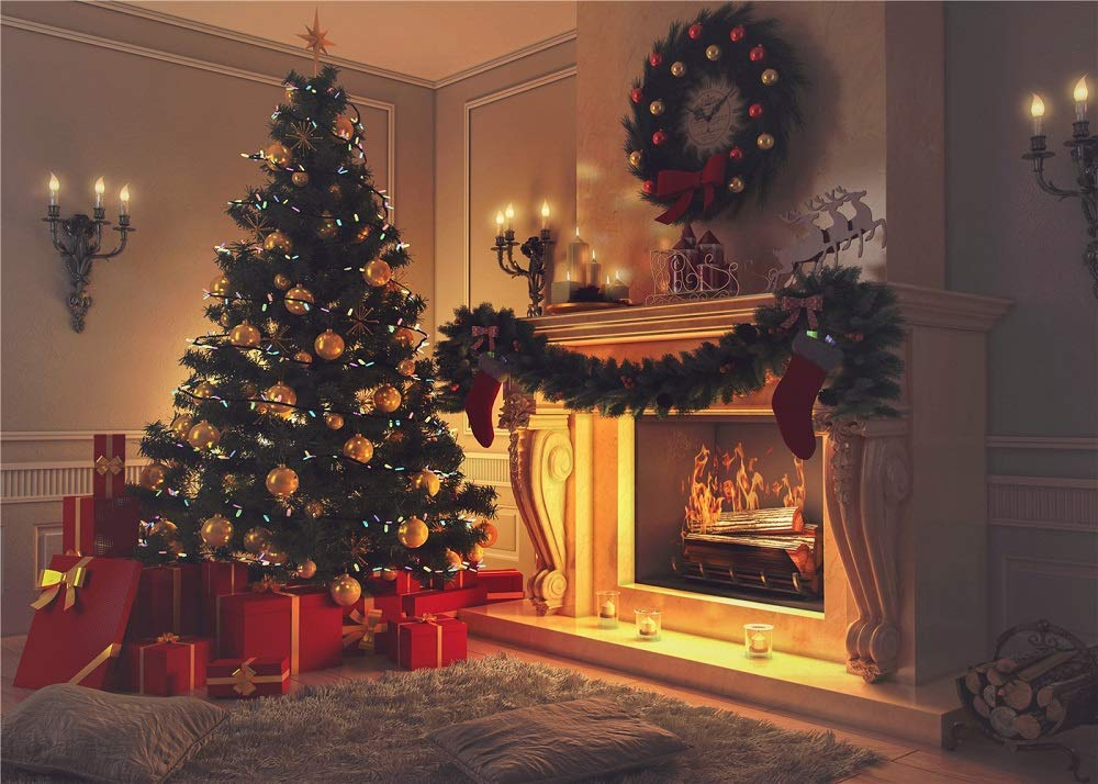 Christmas Tree Indoor Theme Stove Sock Fireplace Gift Blanket Background Santa Garland Xmas Ball Carpet Pillow Xmas Party Photograhy Backdrop