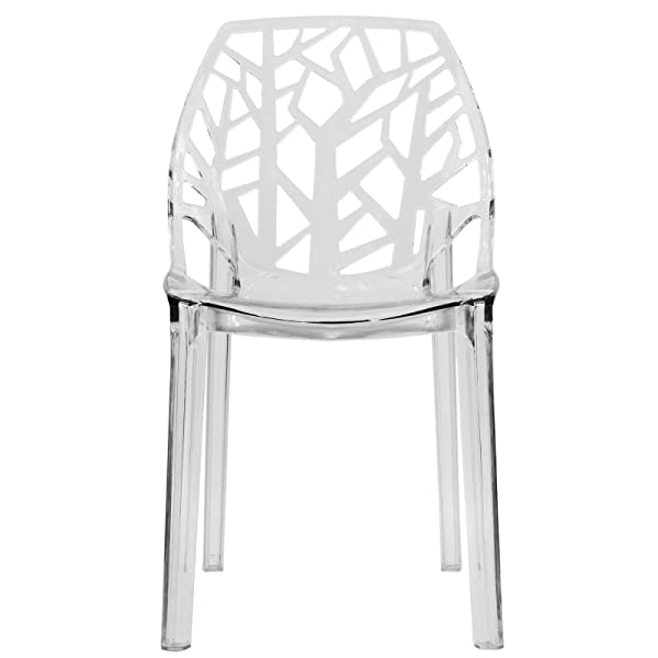 LeisureMod Caswell Cut-Out Tree Design Modern Dining Chairs (Clear)