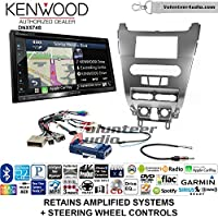 Volunteer Audio Kenwood DNX574S Double Din Radio Install Kit with GPS Navigation Apple CarPlay Android Auto Fits 2008-2011 Focus (SWC)