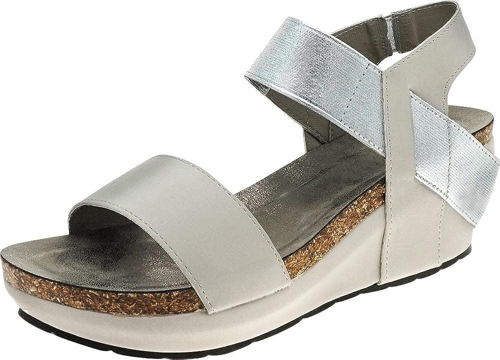 Light Grey Cambridge Select Women's Open Toe Stretch Strappy Chunky Cork Platform Wedge Sandal