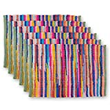 DII Everyday Machine Washable Chindi Rag Placemat (Set of 6), 13 x 19-Inch, Multicolor