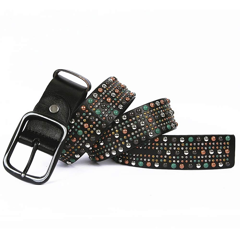 Black Women Waist Belt Leather Studded Belt colorful Rivet Design Ladies Belt (color   Coffe, Size   115cm)
