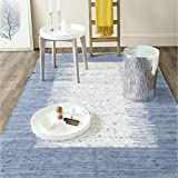 Safavieh Montauk Collection MTK711E Hand Woven Ivory and Dark Blue Cotton Square Area Rug, 6 Feet Square (6-Feet Square)
