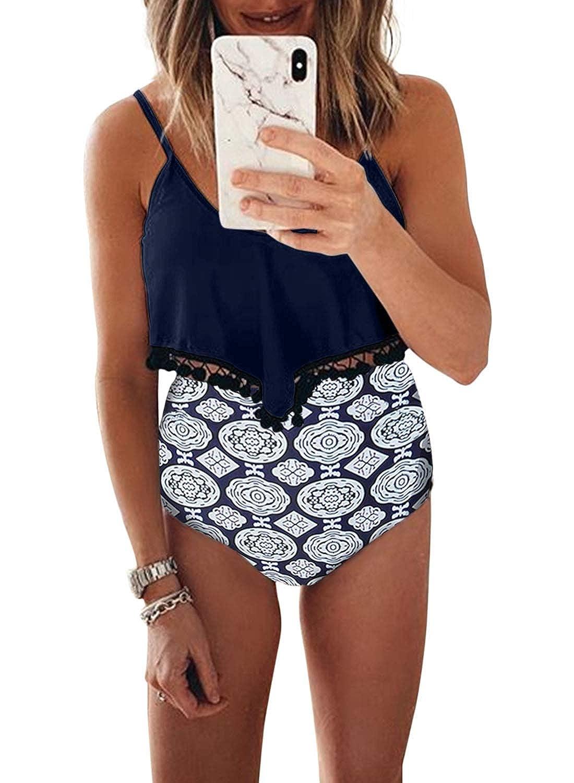 bluee EVALESS Womens Black White Zigzag Should Straps Flounce High Waist Bikini Swimsuit Plus Size M3XL