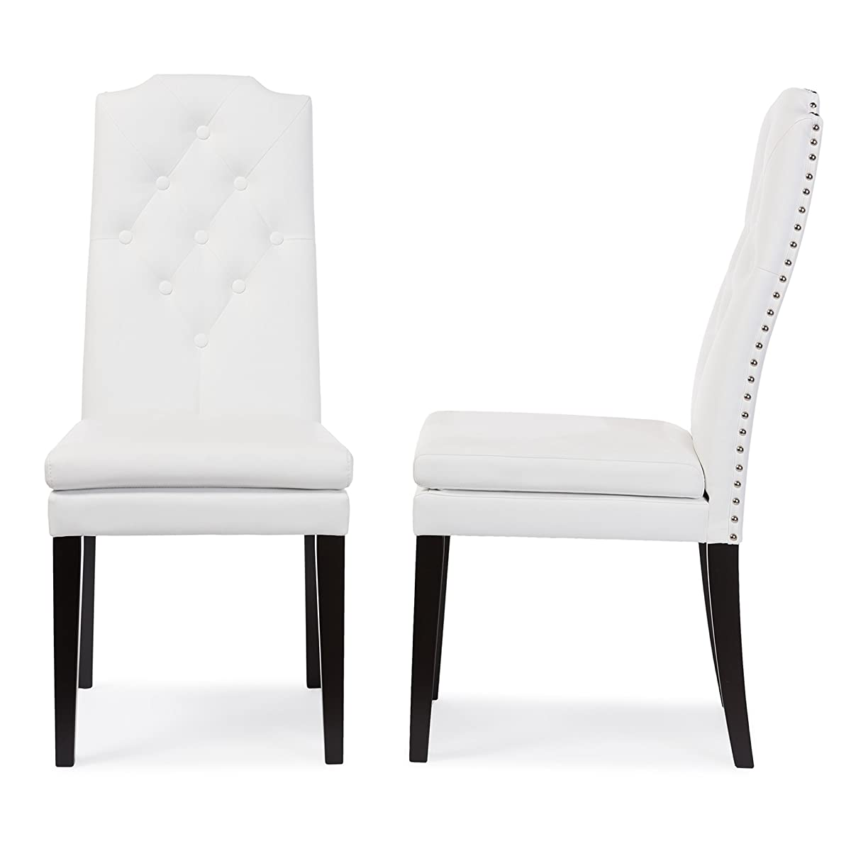 Baxton Studio Dylin Modern & Contemporary Faux Leather Button Tufted Nailheads Trim Dining Chair (Set of 2), White