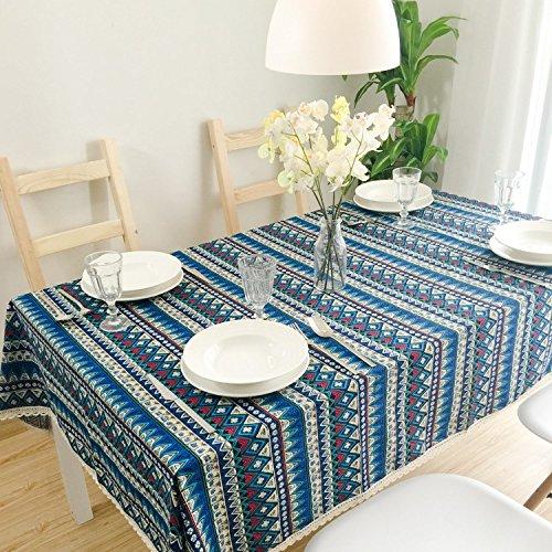 HXC Home 140  220 cm Pizzo Blu Geometrico Aborigeno ins tovaglia da Tavolo da Pranzo in Cotone e Lino Garden Rettangolare Quadrato Non-Ironing Eco-Friendly Runner