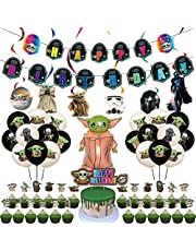 VWORK Baby Yoda Birthday Party Decorations, Star Wars Child Birthday Party Supplies, Include Banner, Balloons, Hanging Swirls, Toppers, Great for Children, Teens Birthday Party