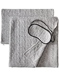100% Cashmere Cable Travel Set with Blanket, Pillow Case, and Eye Mask