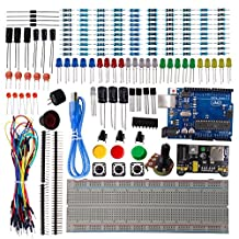 DSD TECH UNO R3 Board Starter Kit for Arduino Development with Resistor Capacitor LED Diode transistor and Dupont Cable