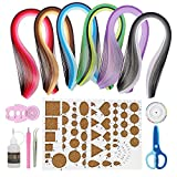 IMISNO Paper Quilling DIY Kits with 30 Colors Quilling Strips Crafting Board Beginners Paper Tool for Quilled Creations (Paper Strips Width 5mm)