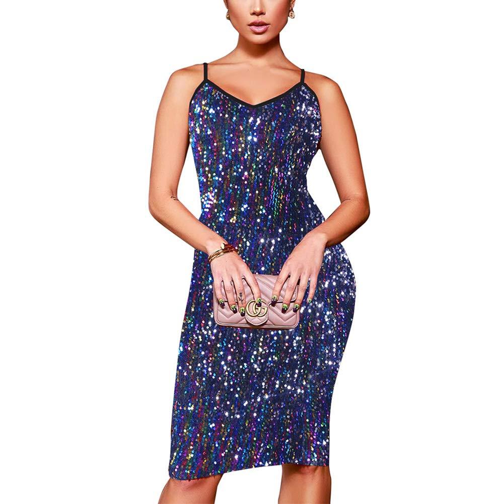 Multi Nhicdns Women's Sexy V Neck Sequin Spaghetti Straps Bodycon Mini Party Clubwear Dress