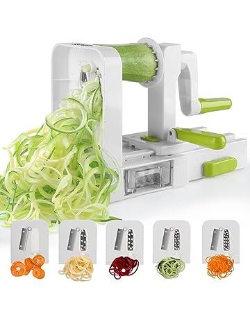 Sedhoom Espiralizador de Vegetales Cortador de Verduras de 5 Cuchillas,Doblado Espiralizador de verduras en