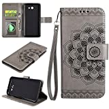 Galaxy J7 2017 Wallet Case, EST-EU Retro Mandala Embossing PU Leather Stand Function Protective Covers with Card Slot Holder Wallet Book Case for Samsung Galaxy J7 2017, Gray