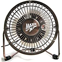 MaxxAir HVDF8 High Velocity 8-Inch Metal 12V Desk Fan with 3 Polypropylene Blades