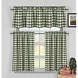 Duck River Textiles Kingston 3153d 12 3 Piece Checks Kitchen Curtain Set Sage