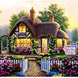 Blxecky 5D DIY Diamond Painting By Number Kits,Fairy tale cottage(35X35CM/14X14inch)